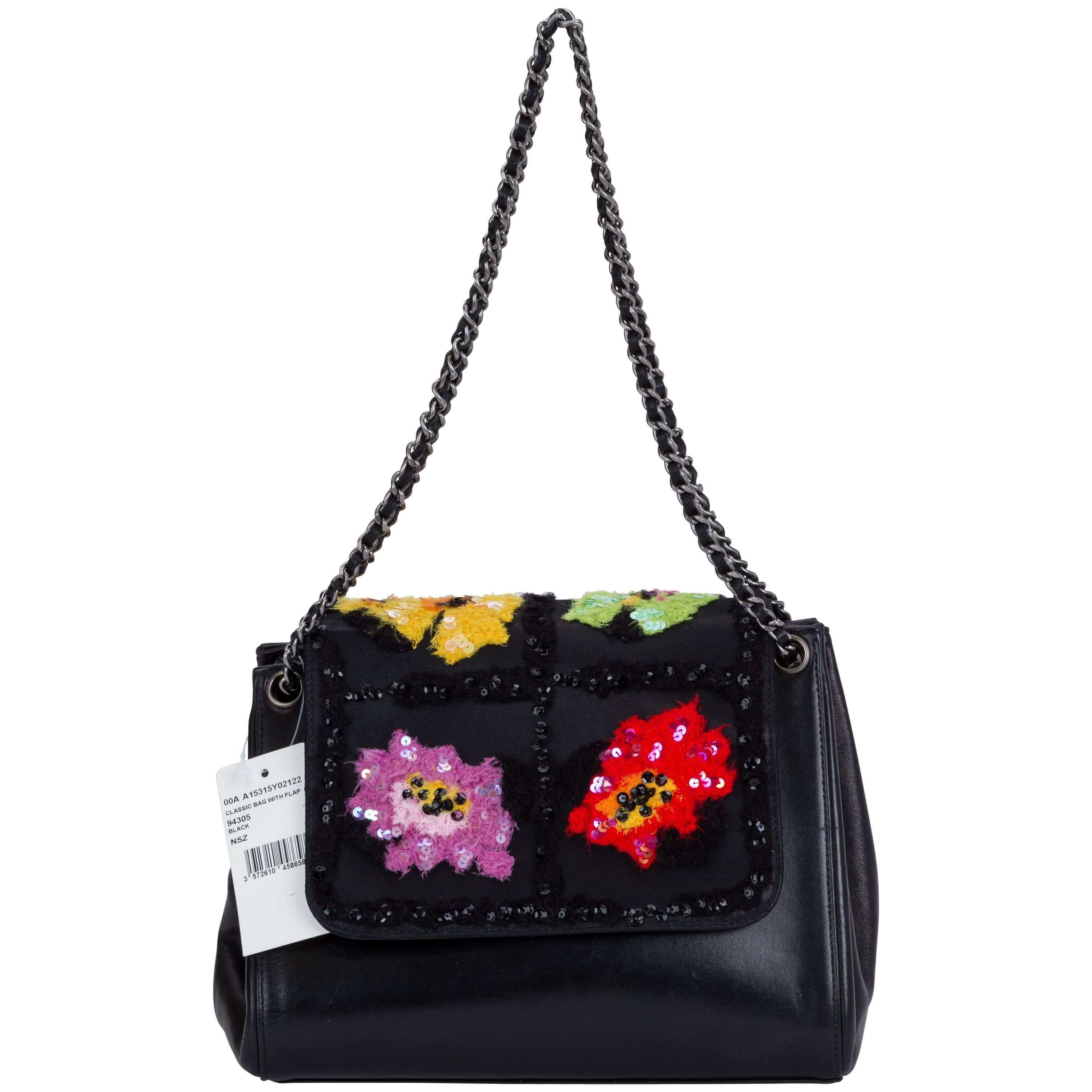 865b8a971edc Chanel Black Embroidered Evening Bag For Sale at 1stdibs