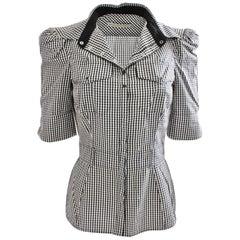 Balenciaga Paris Blouse Fitted Cotton Blend Black & White Check Size 38