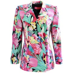 Ungaro Silk Jacket Floral Print Blazer Bold Abstract Multicolor Size M 1990s