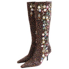 Oscar de la Renta Embellished Knee High Boots Black with Embroidery Italy