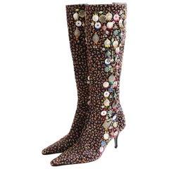 Oscar de la Renta Embellished Knee High Boots Black with Embroidery Sz 37 Italy