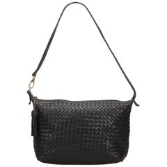 Bottega Veneta Black Leather Intrecciato Shoulder Bag