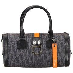 Dior Blue x Denim x Orange Denim Flight Handbag