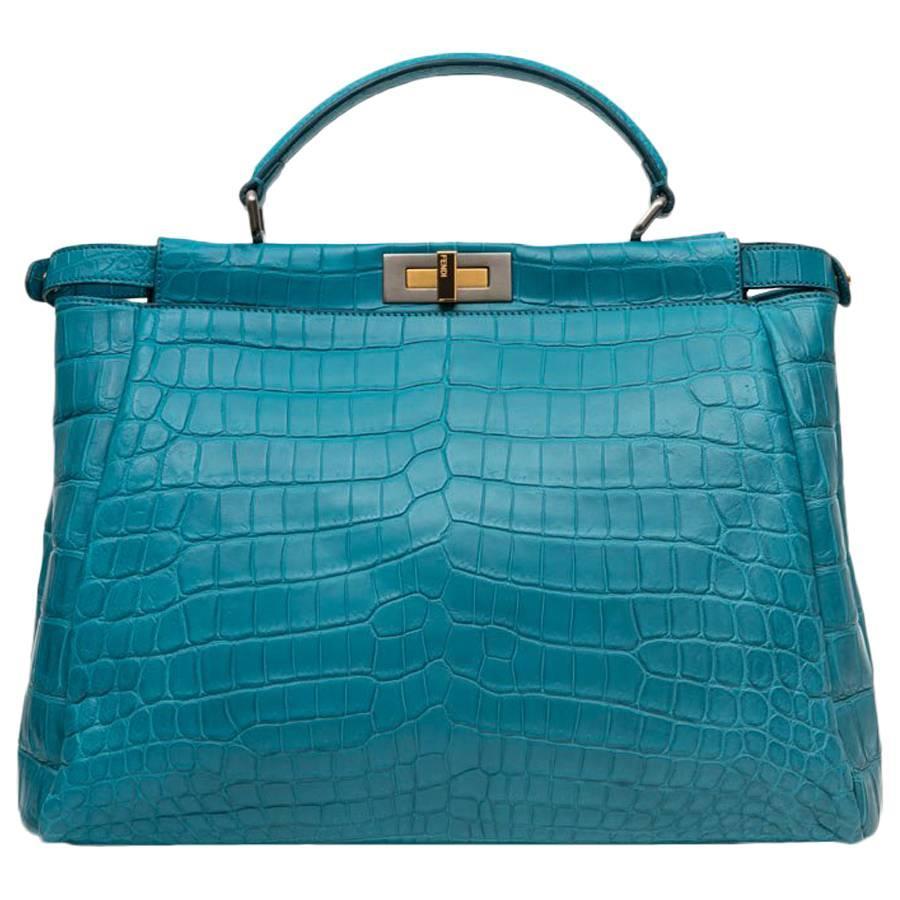 Fendi Turquoise Blue Crocodile Leather Peekaboo Bag