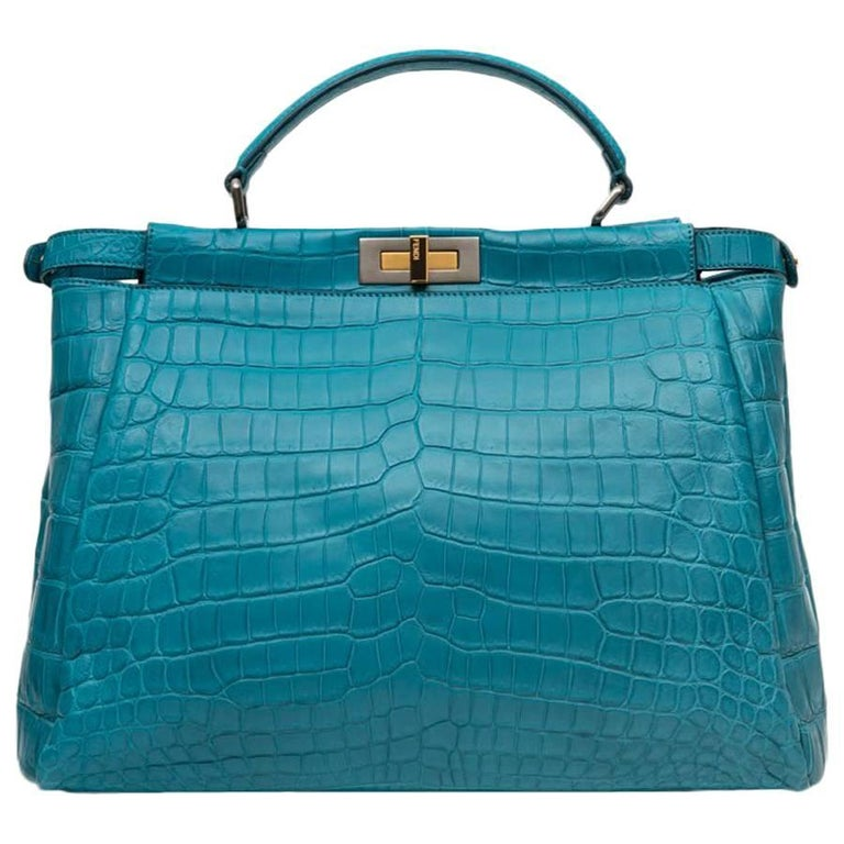 b17e05b73a Fendi Turquoise Blue Crocodile Leather Peekaboo Bag For Sale at 1stdibs