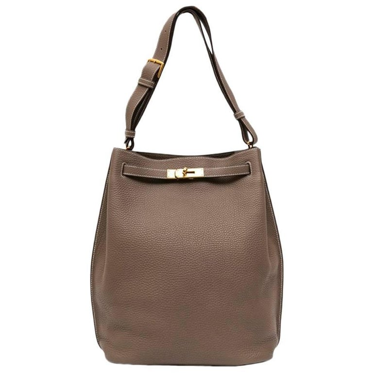 7372740ea8ed HERMES So Kelly Bag in Etoupe Clémence Taurillon Leather For Sale at ...