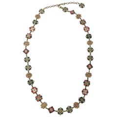 CHANEL Long Necklace in Gilt Metal, Multicolored Molten Glass, Rhinestones