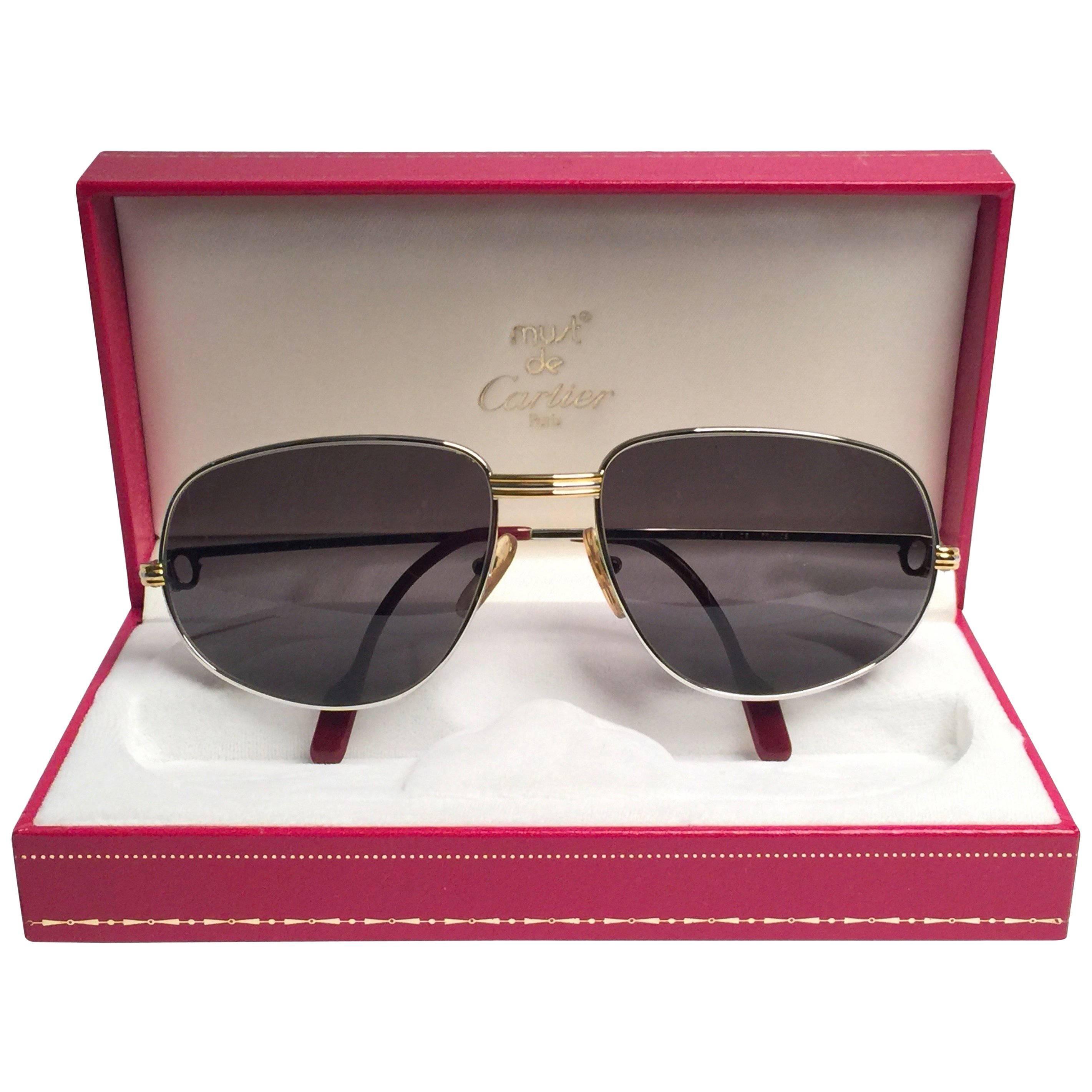 Cartier Vintage Romance Vendome 58mm Platinum France Sunglasses