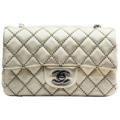Chanel Gold / Black Quilted Lambskin Leather Mini Flap Bag