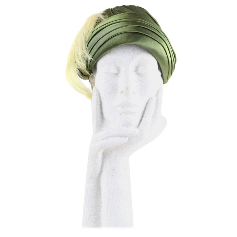 Pleated Olive Green Silk Satin Hat Adorned With Peach Feathers, 1950s For Sale