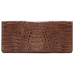 Vintage Crocodile Envelope Clutch Bag