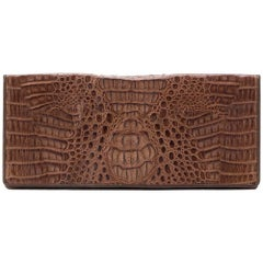 Vintage Crocodile Envelope Clutch Bag