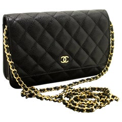 CHANEL Caviar Wallet On Chain WOC Black Shoulder Bag Crossbody