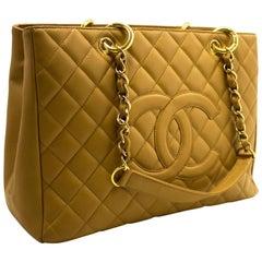 "CHANEL Caviar GST 13"" Grand Shopping Tote Chain Shoulder Bag Beige"
