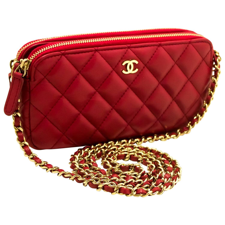 fc8c68fe6f5b Chanel Red Caviar Wallet On Chain Crossbody Shoulder Bag