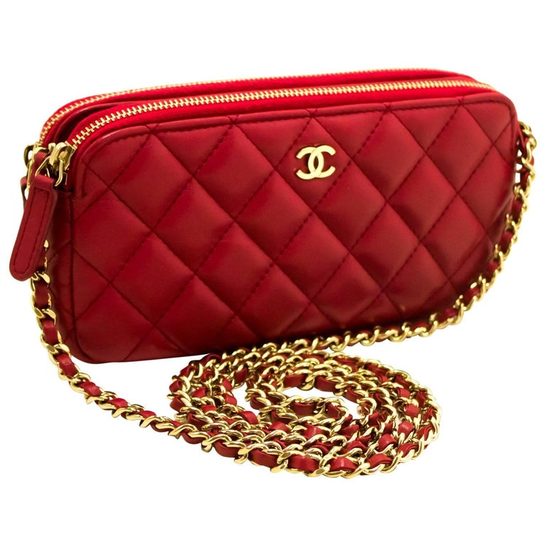 273086b0d7a0 Chanel Red Wallet On Chain WOC Double Zip Chain Shoulder Bag For Sale