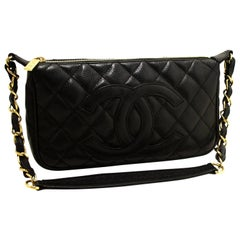 CHANEL Caviar Mini Small Chain One Shoulder Bag Black Quilted 2003