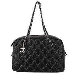 Chanel Tweed On Stitch Camera Case Bag Quilted Nylon Medium