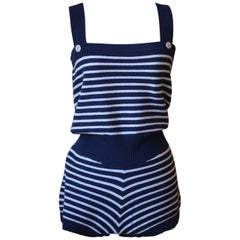 Chanel Stripe Cashmere Knitted Playsuit