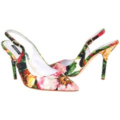 Dolce&Gabbana Shoe Exotic Flower Print on Brocade Textile Slingback 39.5 / 9.5
