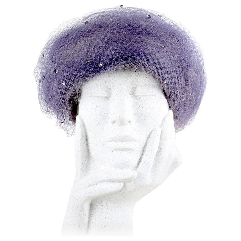 Berta Häusler Made-To-Measure Lavender Sequined Veil Net and Tulle Hat, C 1970