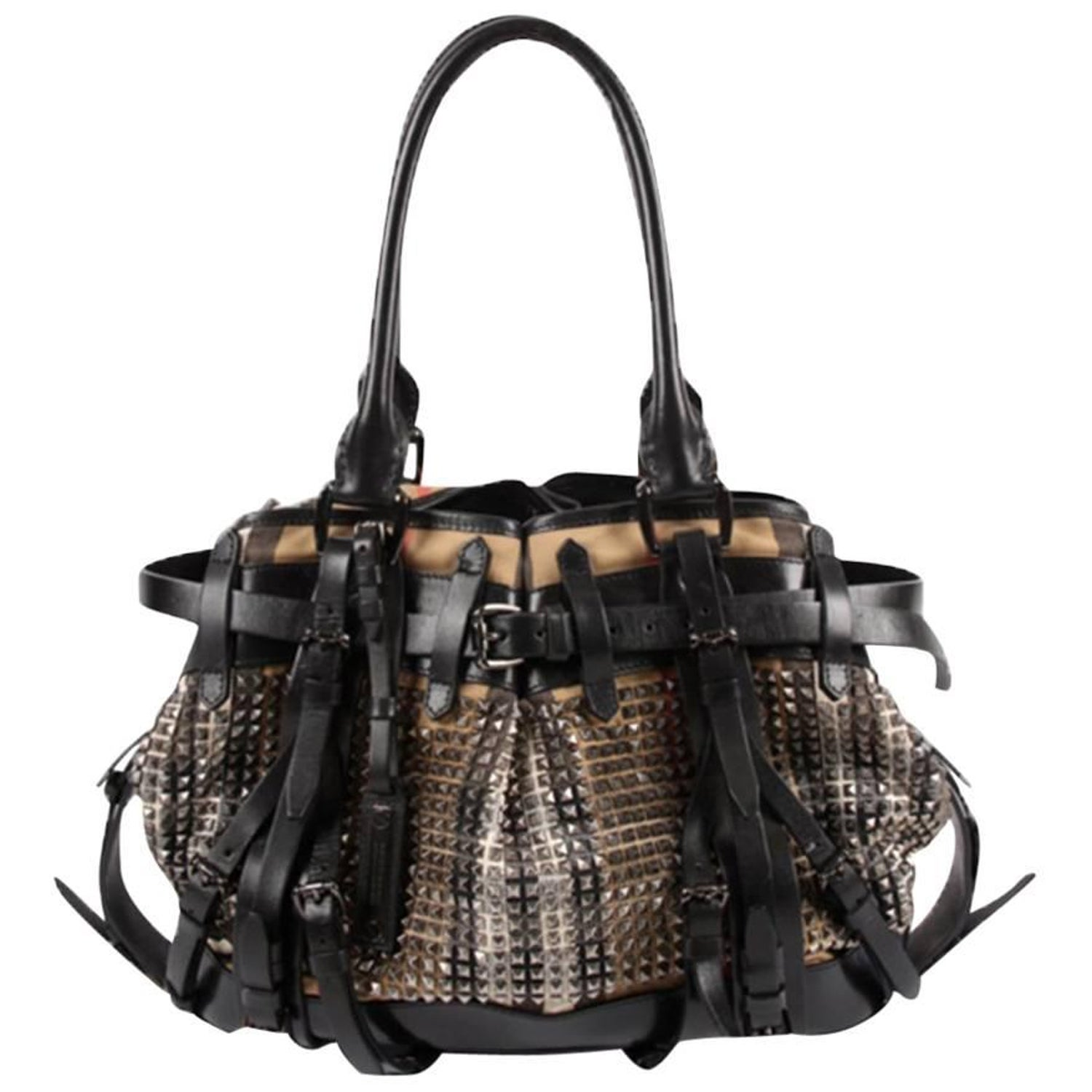 34ecea16737a Burberry Studded Classic Check Bag For Sale at 1stdibs