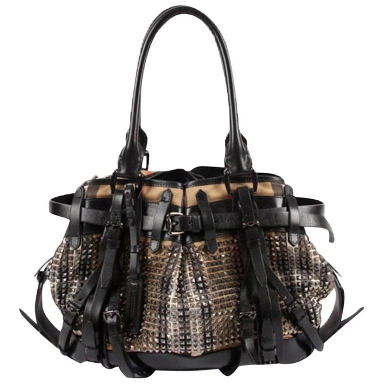 5dbd0d3632cd Burberry Studded Classic Check Bag For Sale at 1stdibs