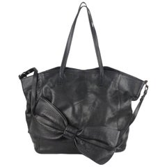 Red Valentino Black Leather Tote Shoulder Bag with Big Bow