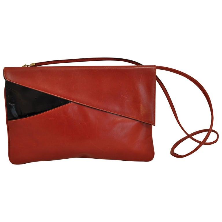Salvatore Ferragamo Firenze Red and Black Leather Envelope Crossbody / Clutch