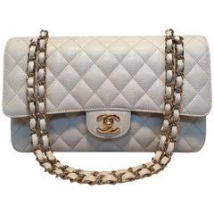Chanel Light Gray Caviar 10inch 2.55 Double Flap Classic Shoulder Bag