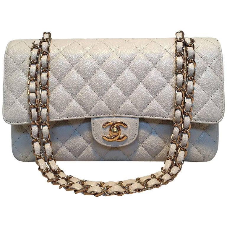a04d6f00472f Chanel Light Gray Caviar 10inch 2.55 Double Flap Classic Shoulder Bag For  Sale