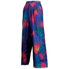 1980s Vintage Hand Dip Dyed Day-Glow Neon Rainbow Cropped Silk Trousers or Pants