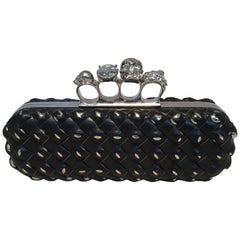 Alexander McQueen Woven Leather Studded Embellished Knuckle Clutch
