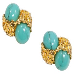 Gilt Metal & Turquoise Clip-On Earrings