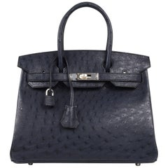 Hermes Birkin 30 Bag Beautiful Ostrich Blue Indigo Palladium Hardware