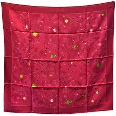 Hermes La Voie Lactee Silk Scarf in Dark Pink