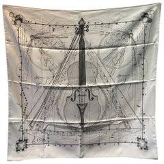 Hermes La Musique Des Spheres White Silk Scarf c1996