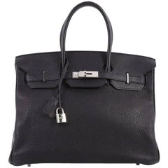 Hermes Birkin Handbag Black Clemence with Palladium Hardware 35