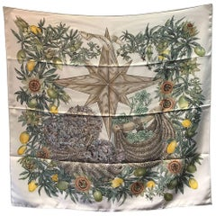 Hermes Passiflores Silk Scarf c1996 in Cream