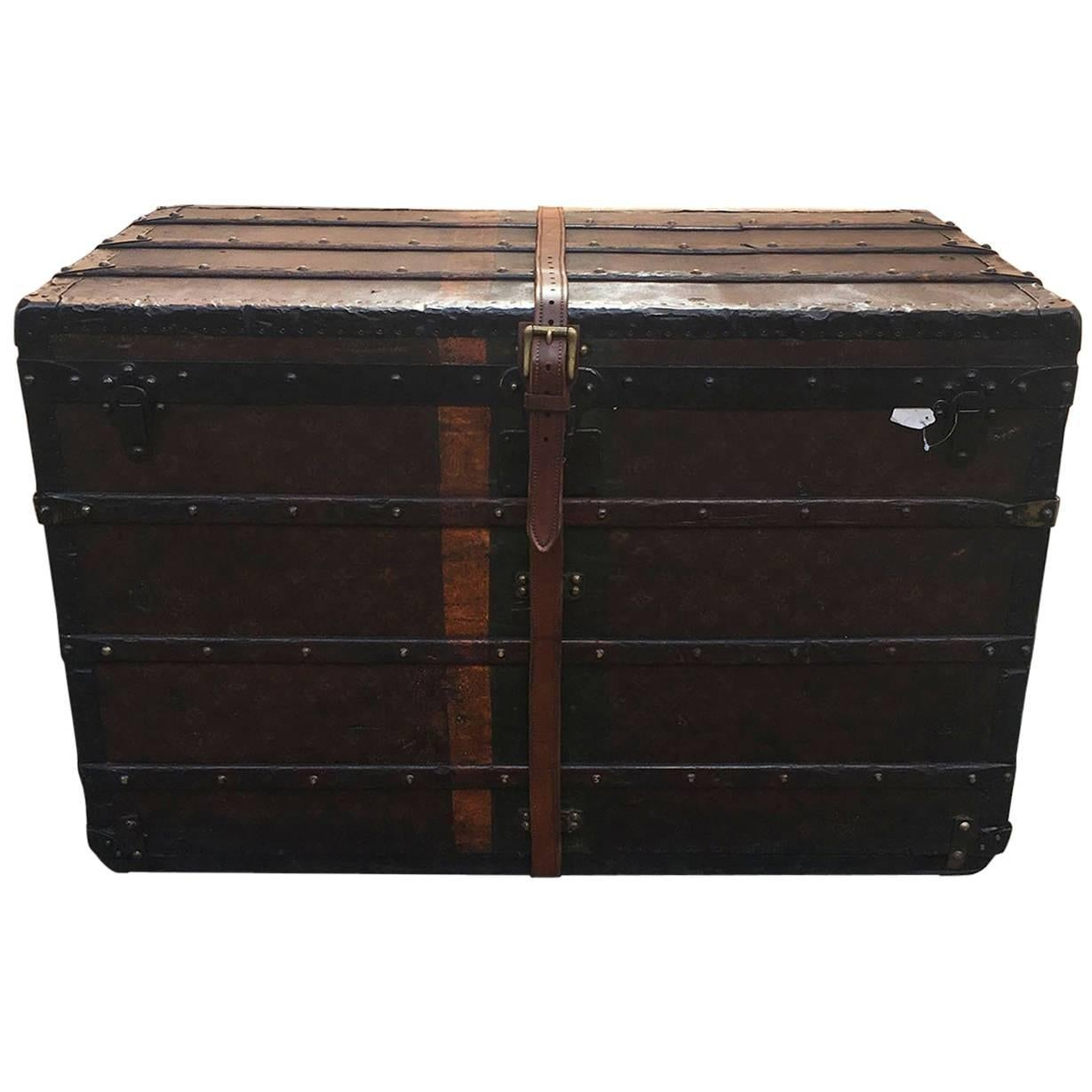 LOUIS VUITTON Antique Steamer Trunk with Orange Green Stripe c1900