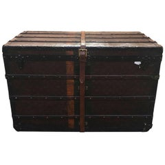 LOUIS-VUITTON-Antique-Steamer-Trunk-with-Orange-Green-Stripe-c1900  LOUIS-VUITT