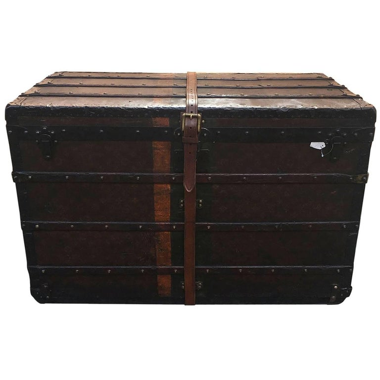 LOUIS VUITTON Antique Steamer Trunk with Orange Green Stripe c1900 For Sale