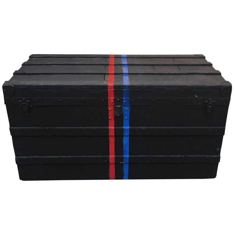 LOUIS VUITTON Antique Black Steamer Trunk with Red and Blue Stripe