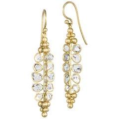 Kothari Polki Diamond Matte Gold One of a Kind Drop Earrings