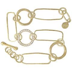 White Diamond Circle Gold Handmade Multi Link Bracelet
