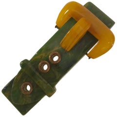 Bakelite Figural Belt and Buckle 2 Color Pin Brooch