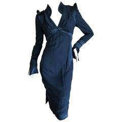 Yves Saint Laurent by Tom Ford Black Pagoda Shoulder Silk Dress, Fall 2004
