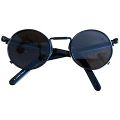 Jean Paul Gaultier Vintage Black Gunmetal Sunglasses 56-8171