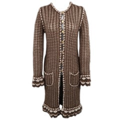 CHANEL Size M Brown & Silver Mohair Blend Gold Button Long Cardigan