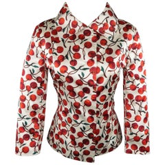 DOLCE & GABBANA Size 10 White & Red Silk Blend Cherry Print Jacket